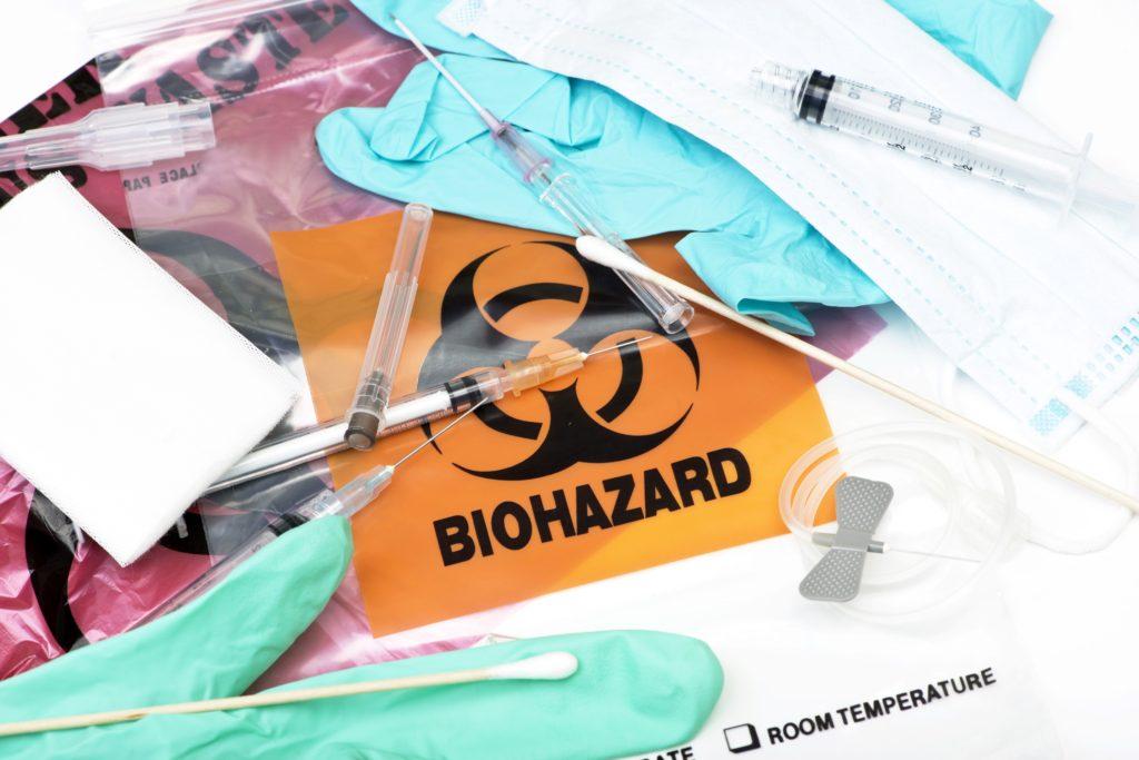 biohazard bag and needle